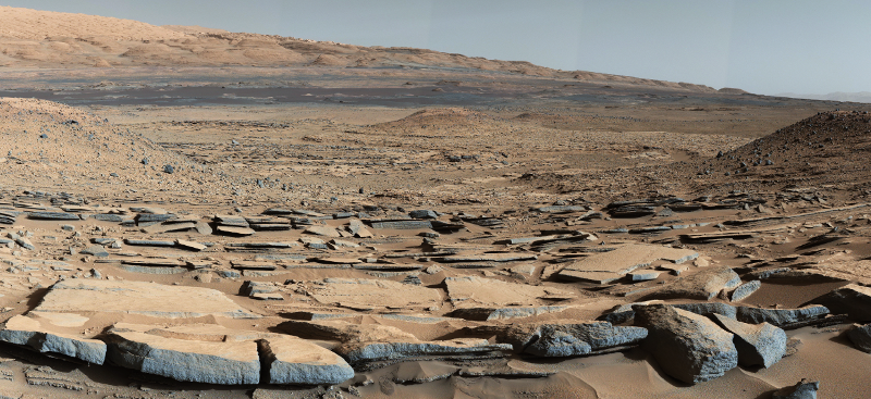 [ MSL Curiosity panorama view of Gale Crater looking toward Mt.  Sharp ]